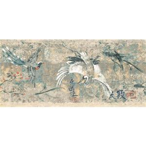 York Wallcoverings Prepasted Japanese Birds Wallpaper  - Cherry
