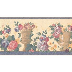 Retro Art Prepasted Distressed Wallpaper Border - Blue/Pink