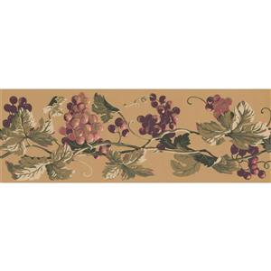 York Wallcoverings Prepasted Grapes on Vine Wallpaper  - Pink/Purple