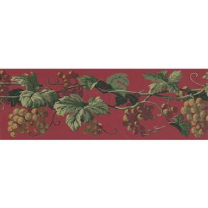 York Wallcoverings Prepasted Grapes on Vine Wallpaper - Yellow/Purple