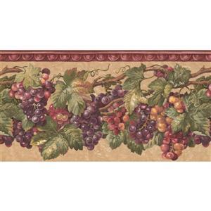 Retro Art Prepasted Grapes Wallpaper - Purple/Yellow