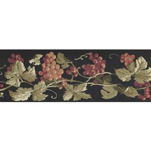 York Wallcoverings Prepasted Grapes on Vine Wallpaper - Purple
