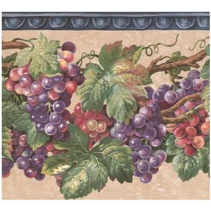 Retro Art Prepasted Grapes Wallpaper Border - Purple/Yellow