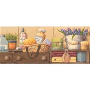 Retro Art Prepasted Bathroom Chest and Parfum Wallpaper