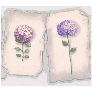 Retro Art Prepasted Hydrangea and Hortensia Wallpaper - Purple/Blue