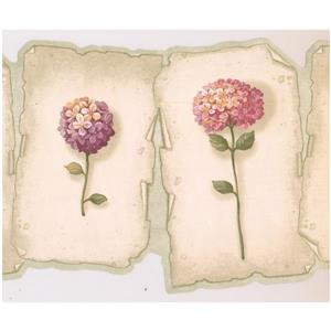 Retro Art Prepasted Hydrangea and Hortensia Wallpaper - Pink/Purple