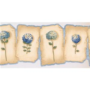 Retro Art Prepasted Hydrangea and Hortensia Wallpaper - Green/Blue
