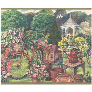 Retro Art Prepasted Country Life Gazebo Wallpaper Border
