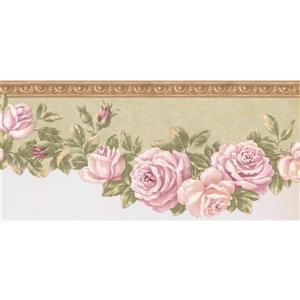 Retro Art Prepasted Bloomed Roses on Vine Wallpaper