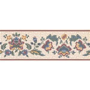 Retro Art Prepasted  Flowers on Vine Wallpaper - Purple/Blue