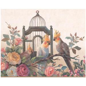 York Wallcoverings Prepasted Parrots and Cage Wallpaper Border - Yellow