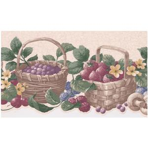 Retro Art Prepasted Berries and Baskets Wallpaper - Cherry
