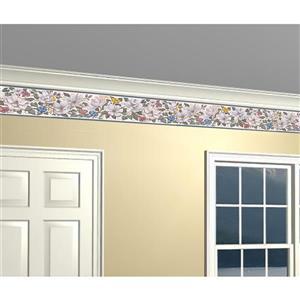 Retro Art Prepasted Floral Wallpaper Border - White/Yellow