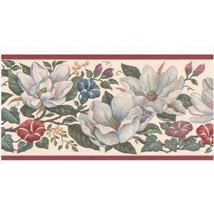 Retro Art Prepasted Floral Wallpaper Border - White/Pink