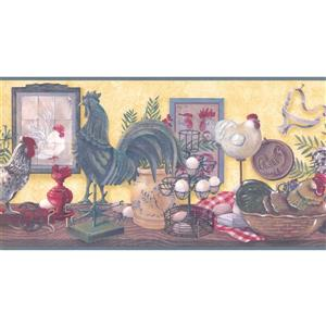 Retro Art Prepasted Rooster and Eggs Wallpaper Border