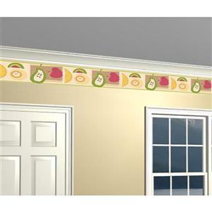 Norwall Prepasted Abstract Fruit Wallpaper Border - Orange/Green