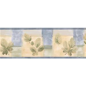 Norwall Prepasted Leaves Wallpaper Border - Blue/Yellow