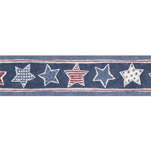 Norwall Prepasted Stars Wallpaper Border - Indigo