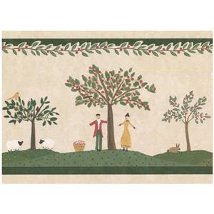 Norwall Prepasted Village Fruit Picking Wallpaper Border