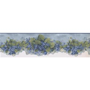 Norwall Prepasted Floral Scalloped Wallpaper Border - Blue/White