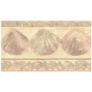 Retro Art Prepasted Seashells Wallpaper Border - Yellow