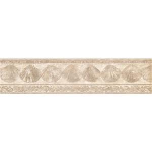 Retro Art Prepasted Seashells Wallpaper Border - Beige