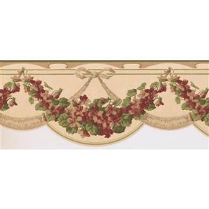 Norwall Prepasted Floral Garland Wallpaper - Magenta Pink