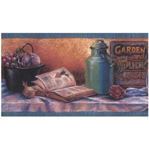 Retro Art Prepasted Kitchen Table and Vegetables Wallpaper