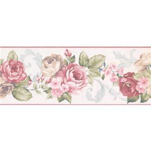 Norwall Prepasted Vintage Roses Wallpaper Border - Pink