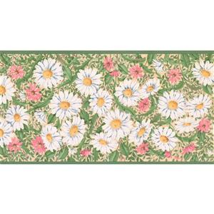 Retro Art Prepasted Daisies and Flowers Wallpaper - White/Pink