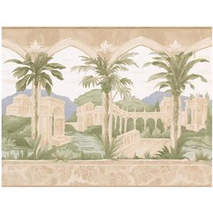 Norwall Prepasted Palace and Palm Trees Wallpaper