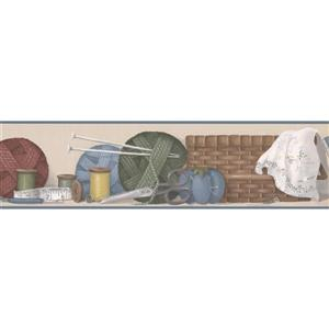 Norwall Prepasted Thread and Scissors Wallpaper Border