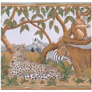 Retro Art Prepasted Wild Animals Wallpaper Border