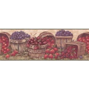Retro Art Prepasted Berries in Baskets Wallpaper - Cherry