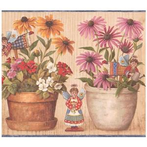 Retro Art Prepasted Floral Wallpaper Border - Yellow/Pink