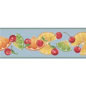 York Wallcoverings Orange Slices and Cherries Wallpaper - Teal