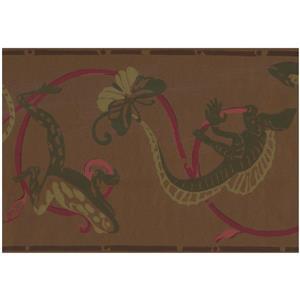 York Wallcoverings Reptile Damask Wallpaper - Green