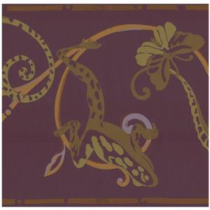York Wallcoverings Lizard and Butterfly Damask Wallpaper - Green/Yellow