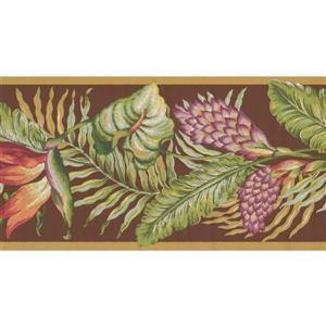 York Wallcoverings Leaves Wallpaper Border - Mauve/Green