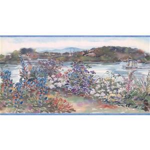 Retro Art Flowers and Lighthouse Wallpaper Border