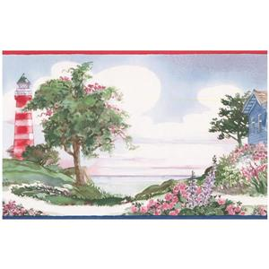 Norwall Retro Lighthouse and Flowers Wallpaper Border
