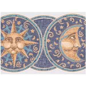 Retro Art Mosaic Smiling Sun and Moon Wallpaper - Blue