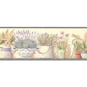 Chesapeake Lillies and Lavender in Pots Wallpaper - Off -White