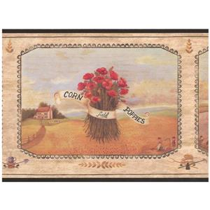 Chesapeake Sunflower and Poppy Bunches on Plaques Wallpaper