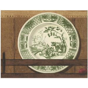 Retro Art Vintage Ornated Plates on Shelf Wallpaper - Brown