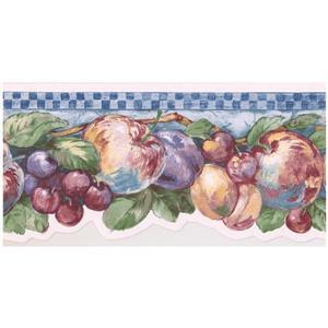 Retro Art Fruits on Vine Wallpaper Border
