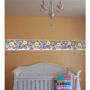 Retro Art Morning Glory Floral Wallpaper - Blue/Yellow