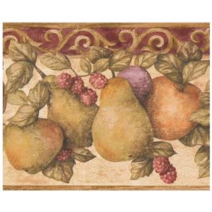 Retro Art Vintage Fruit Wallpaper Border - Beige