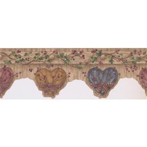 Retro Art Hearts Wallpaper Border - Mauve/Pink