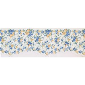 Retro Art Tiny Floral Wallpaper Border - Blue/Yellow